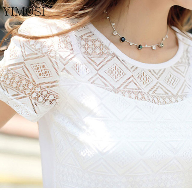 YIMOSI Women Summer Lace Chiffon Blouse 2019 Casual Short Sleeve White Shirts Lady Tops Korean Hollow Out Office Female Blusas