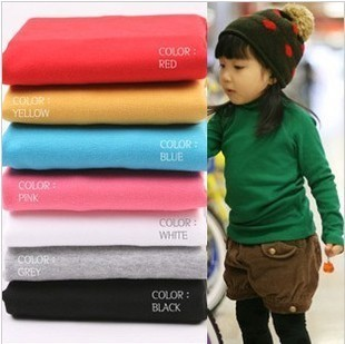 Free shipping piece candy color boys and girls clothing baby long-sleeve T-shirt basic shirt turtleneck solid color
