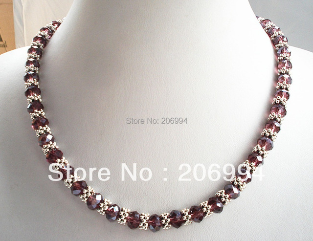 designer necklace 18'' Genuine Purple glass Crystal Tibet silver Bead Necklace gift  fashion jewelry