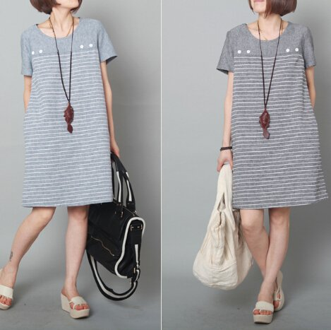 Free Shipping 2014 New Summer Women Fashion Style Loose Round Collar Short Sleeve Stripe Buttons Pockets Cotton Casual Dress