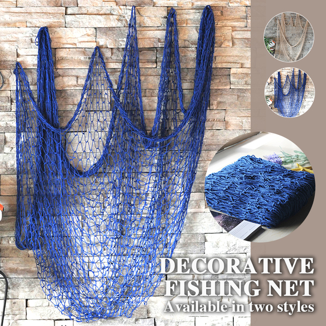 1*2M Ceative Hanging Net Mediterranean Hemp Rope Decor Nets Decorative Fishing Net Wall Decoration Nautical Ocean Theme