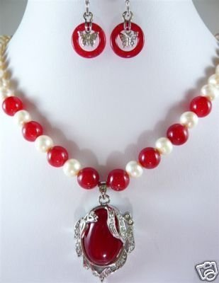 Noblest Jewelry white pearl red gem necklace earring #e156 Wonderful Nobility Fine Wedding Jewelry Lucky Women's 925 silver