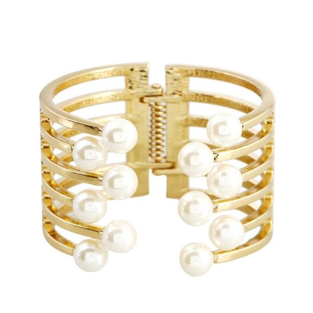 New Arrival Fashion Curve Gold Color Wide Bangle Pearl Opened Cuff Bracelets & Bangles Ladies Jewelry