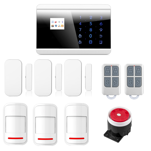 English/Russian/French/Spanish Wireless GSM PSTN Home Burglar Intruder Alarm System Phone APP Control with Intelligent Sensors