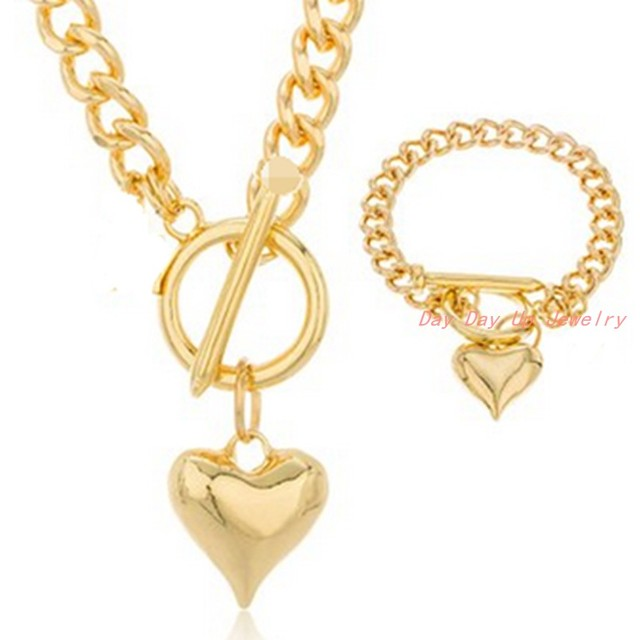 """5mm Handmade Women's Girl's Jewelry Sets Fashion 316L Stainless Steel Silver Heart Pendant Curb Chain Necklace 18""""&Bracelet 8"""""""