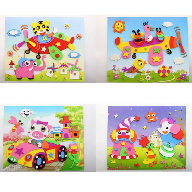 DIY Handmade Mix Color Educational 3D Eva Foam Sticker Puzzle Toys Crafts for Children Baby < 3 Years Old Unisex