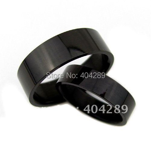 Wholesale 50pcs Fashion Black Stainless Steel Rings,4mm & 6mm for Choose