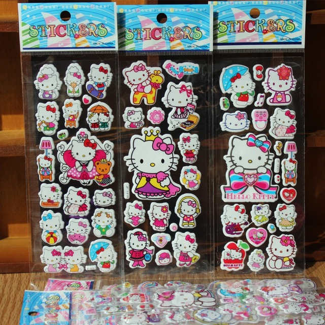 2016 NEW Fashion Lovely Hello Kitty stickers 3D Cartoon Hello Kitty Bubble stickers Kids Festival Gift toy stickers 50 pcs