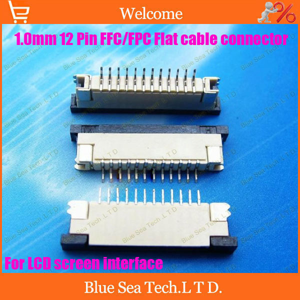 Free Shipping 20pcs FPC/FFC connector cable socket 12 pin 1.0mm connector for LCD screen interface of DVD/MP3/PDA/Phone ect.ROHS