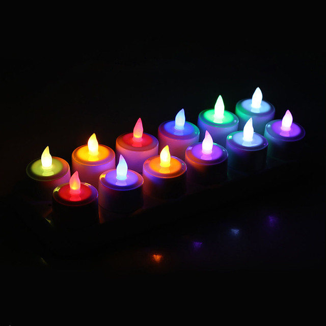 set of 12Remote Control Rechargeable TeaLight frosted cup Flameless Multicolor Led candle lamp Wedding Xmas party bar Home decor