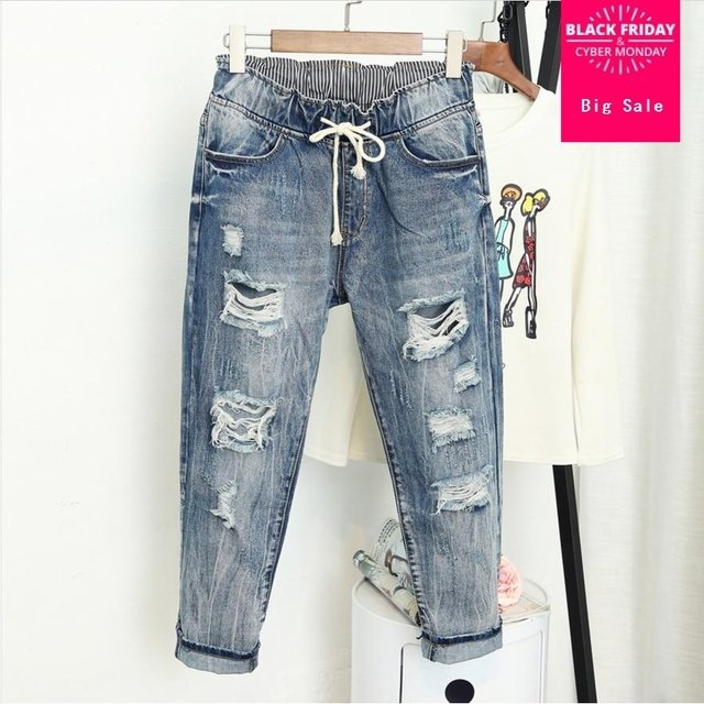 New holes ripped lace up Harem pants loose jeans 2018 spring Cotton high waist plus sizes 3XL 4xl 5xl casual denim pants L133