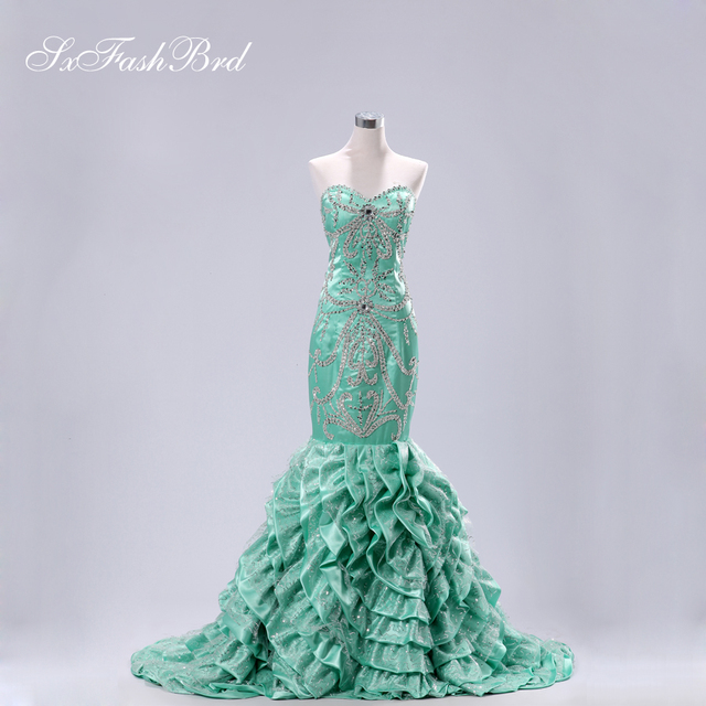 Sweetheart Nice Beading Pattern Fitting Bodice Ruffle Mermaid Emerald Green Fishtail Real Evening Couture Dresses Robe De Soiree