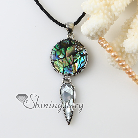 round teardrop rainbow abalone oyster shell white oyster shell necklaces pendants 2013 cheap fashion jewellery