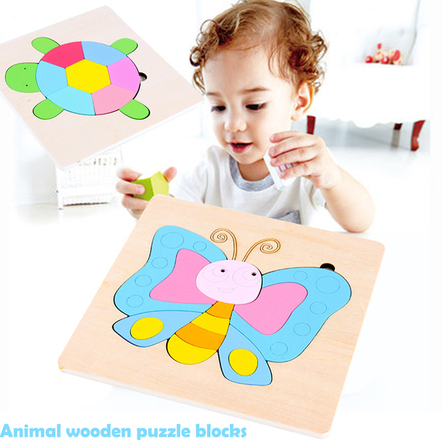 Children's Educational Toys Multicolor Fashion Animal Puzzle Toy Safe Material Beautiful Wooden Practice Puzzle Toy From 1 year
