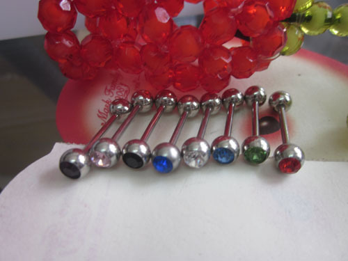 100pcs crystal tongue rings mix colors body piercing jewelry