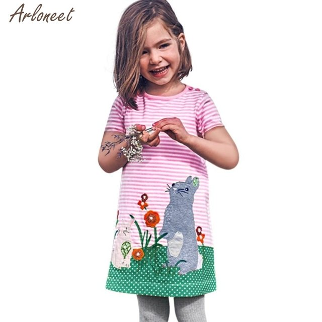 2019 summer dress baby Toddler Infant Baby Kids Girls Cartoon Dresses Striped Animals Outfits Clothes 27