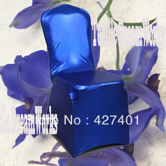Hot Sale Royal Blue Metallic Shiny Two-way  Spandex Chair Cover / Lycra Chair Cover   Arch Front For Wedding Decoration