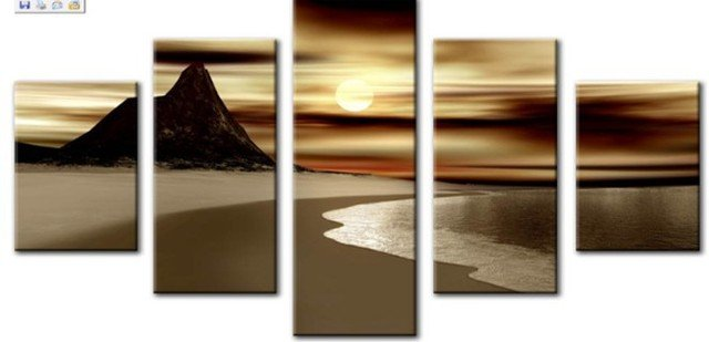 5 Piece Landscape Paintings on Canvas Wall Art Beautiful Scenery Sunset Beach Pictures for Living Room Home Decor