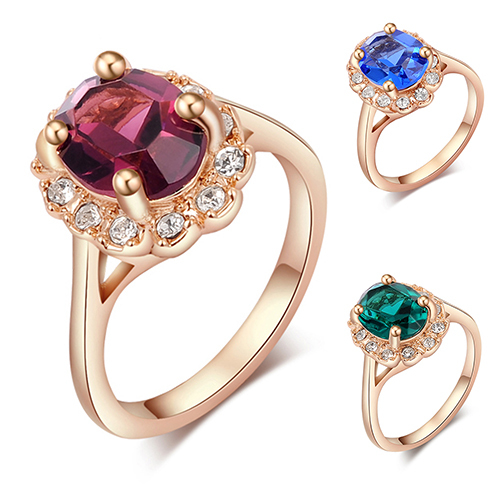 New Women Luxury Big Crystal Ring   Wedding Party Finger Jewelry US 6-9 BDKG