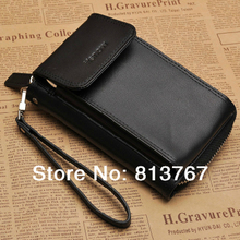 Free shipping 2014 men wallet Multi-functional  male wallets genuine leather wallet with mobile case card wallet