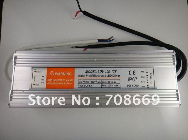 12V 8.5A 100W Waterproof Electronic LED Driver Transformer Power Supply