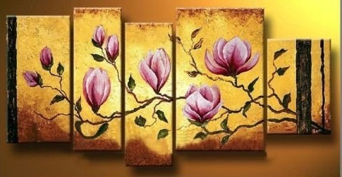 handpainted 5 piece yellow modern oil paintings on canvas wall art flowers pictures for home decoration living room