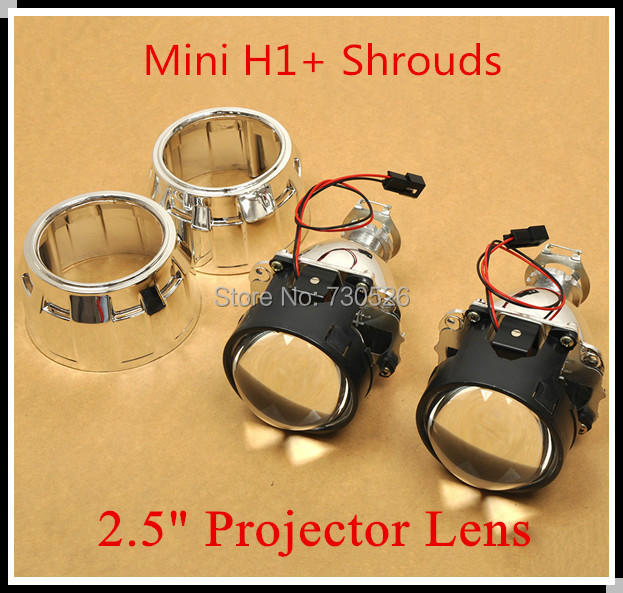 """Mini H1 Projector Lens  2.5"""" H/L Beam projector with shroud suitable for h1 h4 h7 car headlight"""