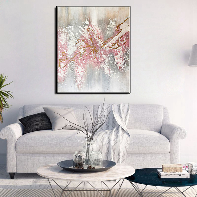 Free shipping High Quality handmade modern pink scenery Oil Painting on Canvas Handmade wall art picture for living room bedroom