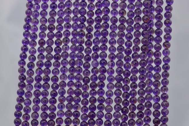 """Genuine Natural Purple Amethysts Loose Beads Grade AA Round Shape 4mm 6mm 1string 15.5"""""""