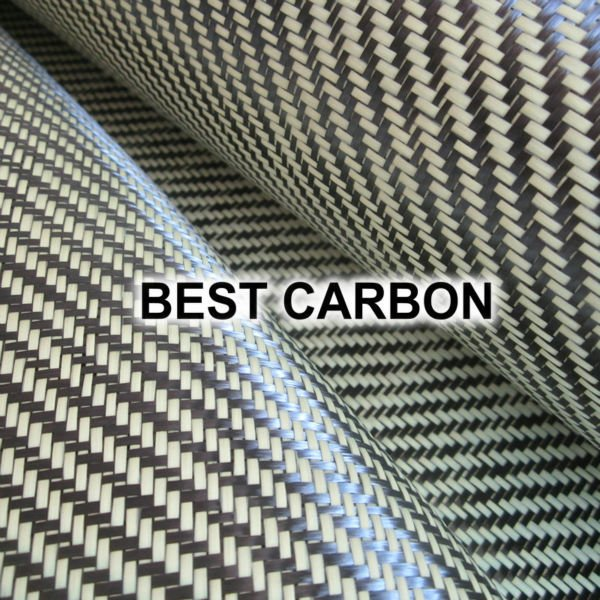 Hight quality Yellow Twill  Hybrid Carbon Fabric , Carbon-Aramid Fabric  ,Carbon-Kevlar Fabric