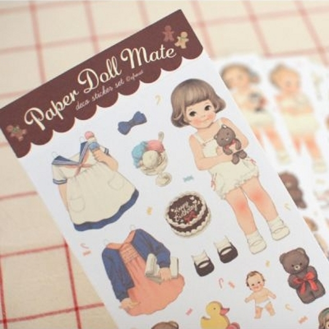 MQStyle 6Pcs/Pack New 2019 Cute Creative Stickers Paper Girl Combination Paper Doll Mate Stationery Sticker H0128