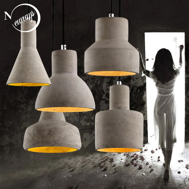 Art deco industrial cement hanging lamp E27 LED retro pendant light with 5 styles for restaurant living room bedroom hotel