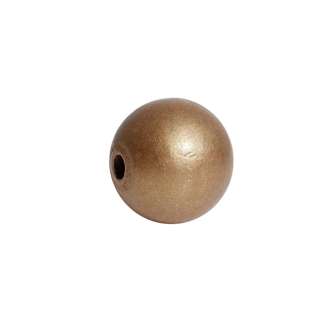 """DoreenBeads Hinoki Wood Spacer Beads Round Golden Color Beads DIY Jewelry Findings About 24mm(1"""") Dia, Hole: Approx 5.3mm, 2 PCs"""