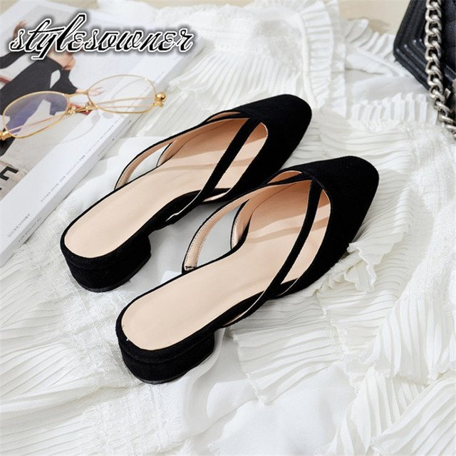 Stylesowner 2018 Summer Classic Woman Casual Slippers Black Solid color Round Toe Cow Leather All-match Low Heels Female Slipper
