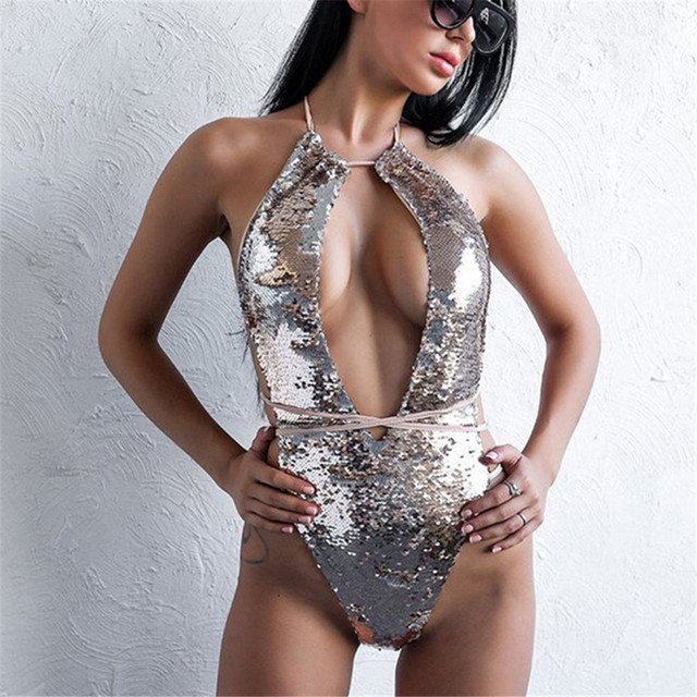 2018 Bling Sequins One Piece Swimsuit Sexy Women Bodysuit High Waist Bandage Swimwear Female Bathing Suit Swimming Beachwear