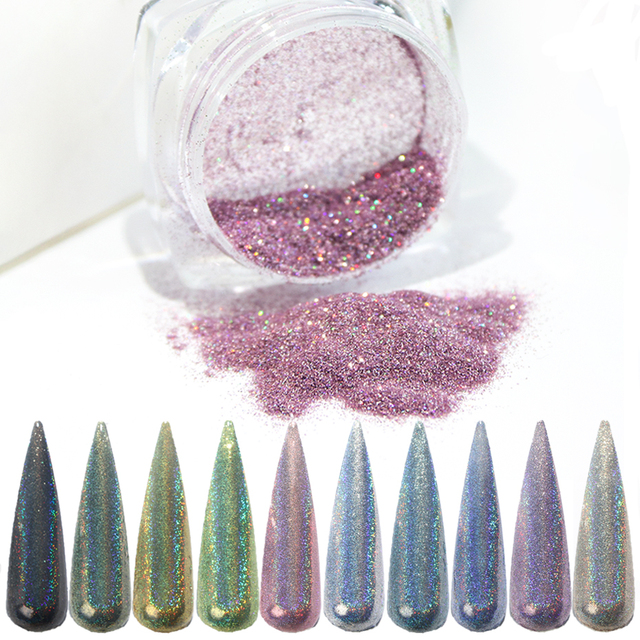 1g 3D Holographic Glitter Flakes For Nails Laser Dipping Powder Shiny Chrome Pigment Dust Manicure Nail Art Decoration SA1028