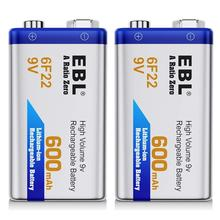 EBL 2PCS 6f22 600mAh 9v rechargeable li-ion battery large capacity eco-lithium battery for GPS,LED lighting paintball gun
