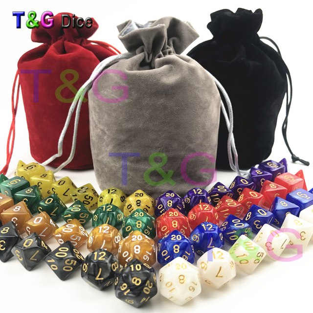 T&G Top Quality 56 PCS/set 7x8 (7pcs x 8 sets) Dice Set with Marble Effect and Bag D4-D20 Polyhedral RPG Game