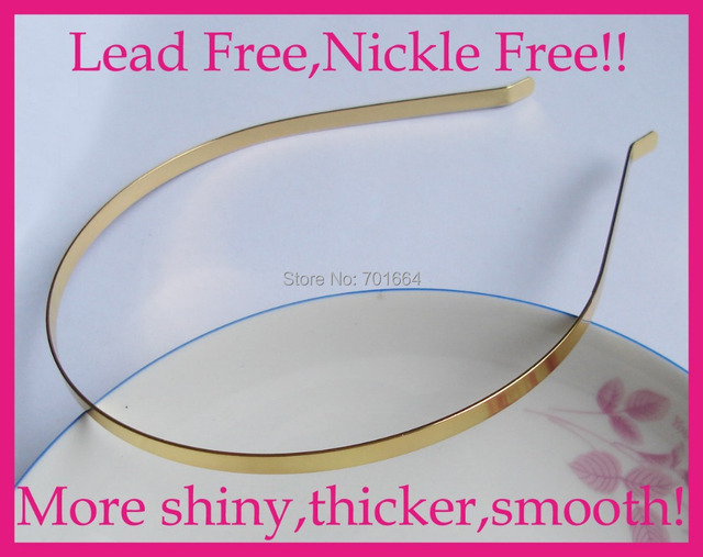 10PCS 5mm golden Plain Metal Hair Headbands with bent end at nickle free and lead free quality,BARGAIN for BULK
