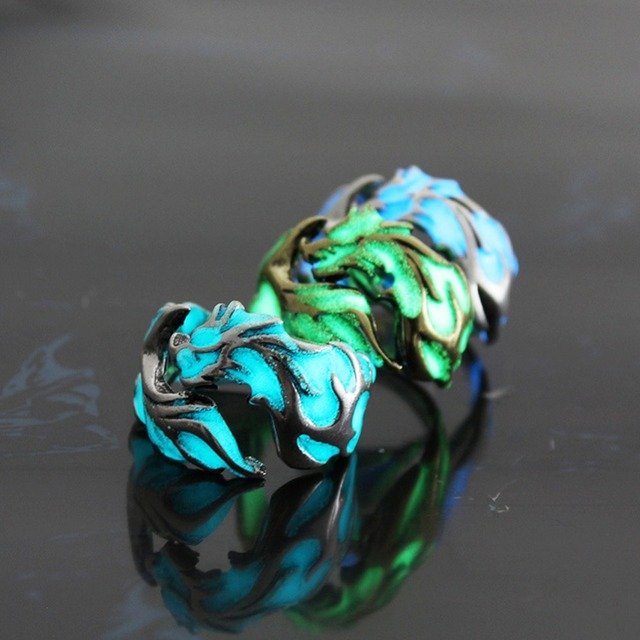 Hot sale Mens ring luminous dragon rings for men women rings glow in the dark male jewelry