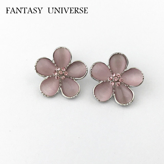 FANTASY UNIVERSE Hermione Stud Earrings Little Peach Blossom High Quality Kawaii Pink Petals For Girls Kids Christmas Gift
