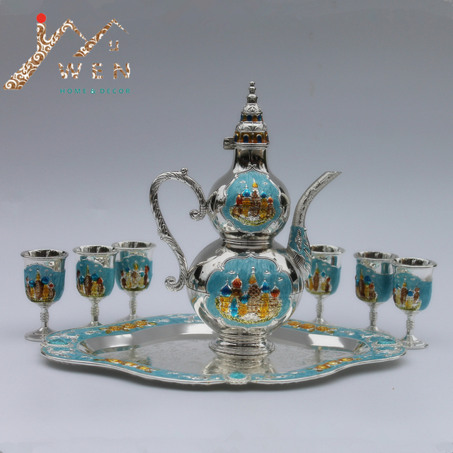 New arrival silver color with diamond metal wine set/tea set fashion zinc alloy wine set