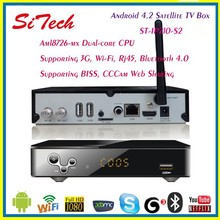 Free Shipping 2013 Newest Top Seller--Dual Core Android 4.2 Smart TV Box With BISS / CCCam Satellite TV Receiver