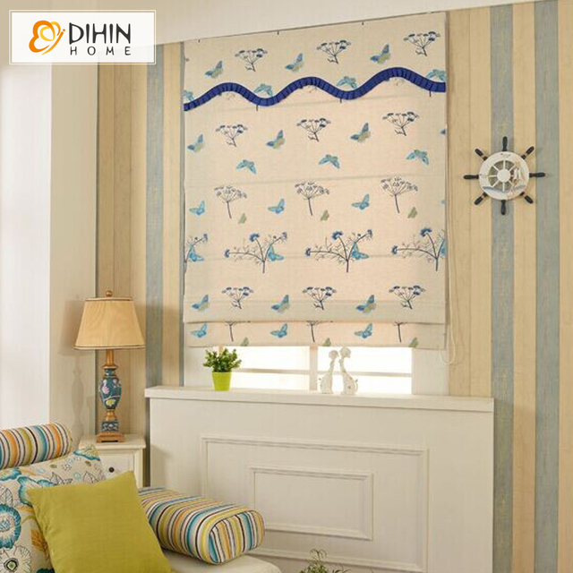 Included Curtains New Arrival Thickening Linen/Cotton Cartoon Butterfly Roman Shade Blinds The Finished Curtain free Shipping