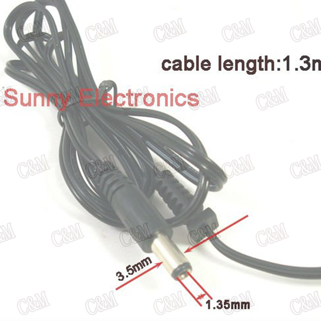 Free Shipping wholesale 5pcs Male DC Power Plug Jack  3.5 x 1.35mm With Wire 1.3M(4FT)
