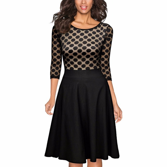 Women's 1950'S Vintage Polka Dot Optical Illusion 2/3 Sleeve Casual Swing Dress Audrey Hepburn Style Party Retro Dresses Vestido