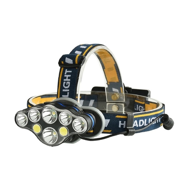 LumiParty LED Headlamp Zoomable 5000Lm T6+COB Head Flashlight Torch 8-light USB Charging LED Forehead Lamp Fishing Headlight