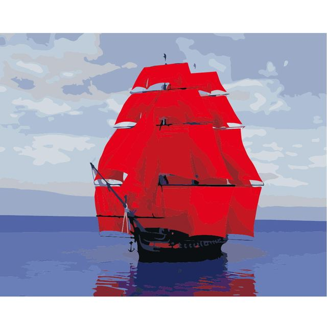 DIY PBN Sailing Boat Arcylic Painting By Numbers On Canvas Framed Wall Pictures Art For Living Room Home Decoration