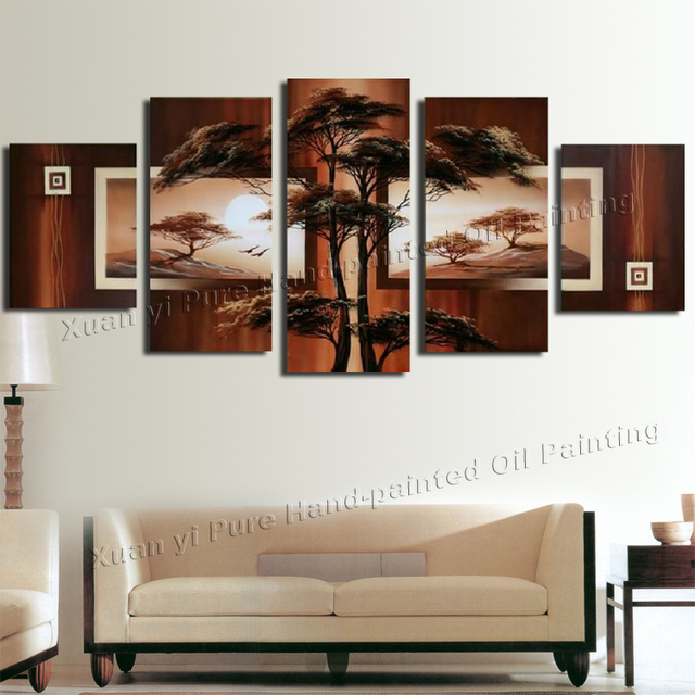 Hand Painted Landscape Modern Oil Painting On Canvas Tree African Scenery Guaranteed Wall Decor Canvas Picture 5 Panel Wall Art