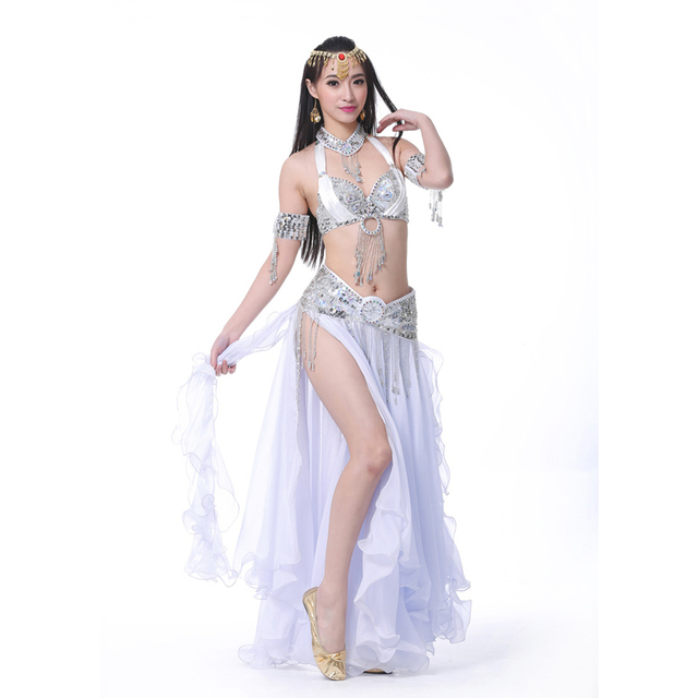 Belly Dance Costume chiffon 2 sides slits Long Skirt Ear Skirt with silver trim for dance professional dancewear SF345